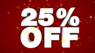 Discount sale 25% text animation video