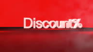 3D Discount% word animation in FullHD. video