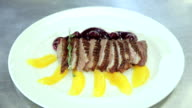 Dish roasted duck breast with orange video