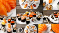 Dishes of Sushi and Sashimi, collage. Multiscreen. video