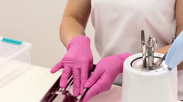 Disinfection of metal manicure tools. video