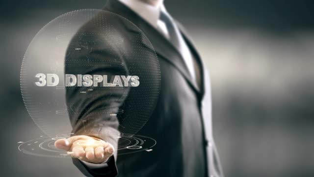 3D Displays with hologram businessman concept video