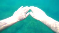 Diver point of view hands of man snorkeling under water action camera with chest mount video