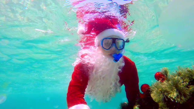 Diver wearing Santa Claus suit with decorated Christmas tree into the water video