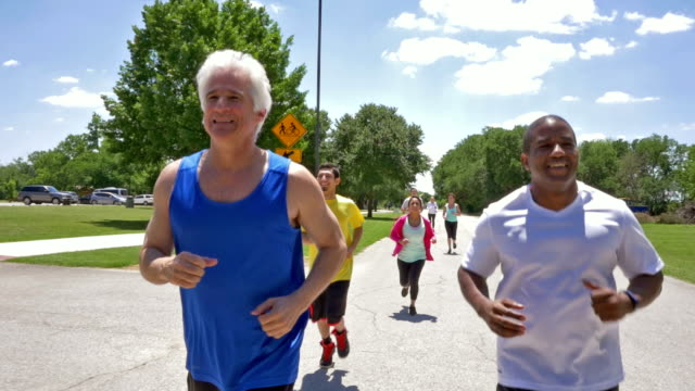 Diverse adults training for marathon or 5k race together outdoors video