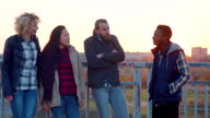 Diverse family of four stand at railing and laugh video