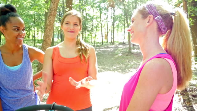 Diverse group of moms are talking while exercising together at park video