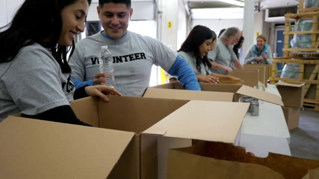 Diverse group of volunteers sorting donations into boxes at food bank video
