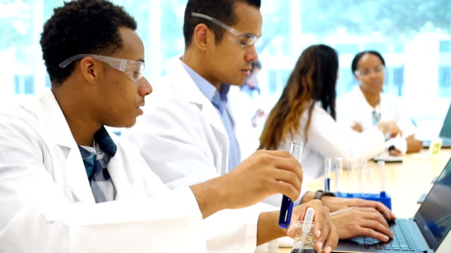 Diverse male scientists work on research project in lab video