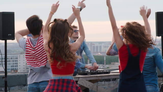 Diverse People Clubbing at Rooftop Dj Performance video