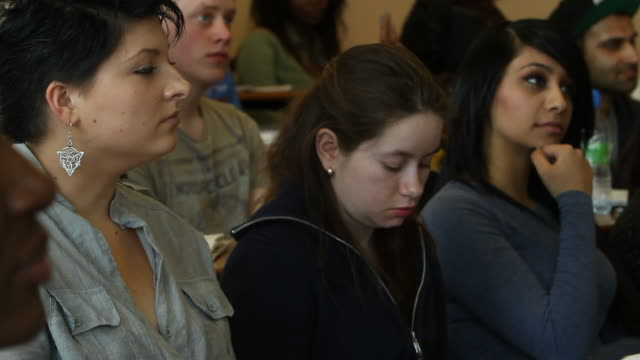 Diverse student group in lecture hall video