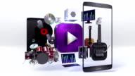 Divided smart phone, mobile, Explain various music download, listen internet. video