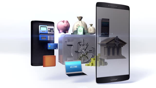 Divided smartphone, mobile, Management bank account, internet banking, online banking. video