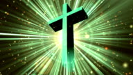 Divine Worship Cross Cyan Loopable Background video