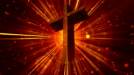 Divine Worship Cross Gold Loopable Background video
