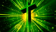 Divine Worship Cross Green Loopable Background video