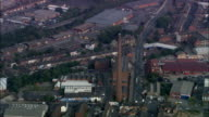 Dixon's Chimney and Shaddon Mill - Aerial View - England, Cumbria, Carlisle District, United Kingdom video