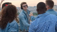 Dj Mixing Electronic Music at Rooftop Party video