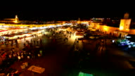 Djemma el Fna in Marrakech at Night, Morocco, Timelapse Video video