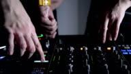 DJs and mixer. Close up video