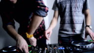DJs and mixer. Close up video
