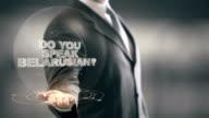 Do You Speak Belarusian Businessman Holding in Hand New technologies video
