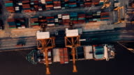 Docked container ship video
