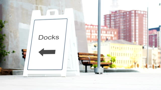 Docks foldout sign in downtown metropolitan area during daylight video