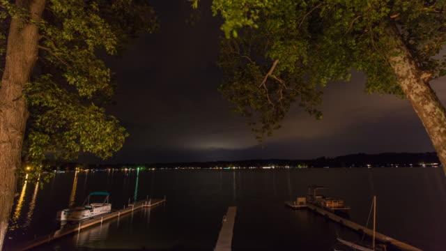 Docks on Lake Timelapse between Trees at Night video