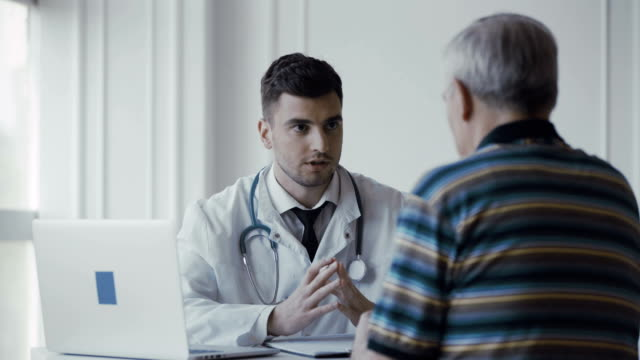 Doctor consults senior patient video