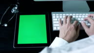 Doctor hands working with digital tablet ,Chroma key. video
