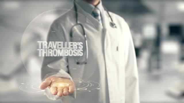Doctor holding in hand Traveller's Thrombosis video