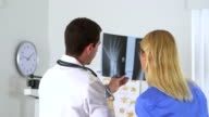 Doctor reviewing x-ray with patient video