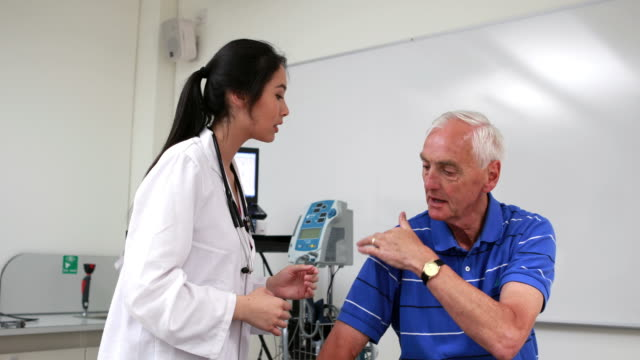 Doctor talking to patient with shoulder pain video