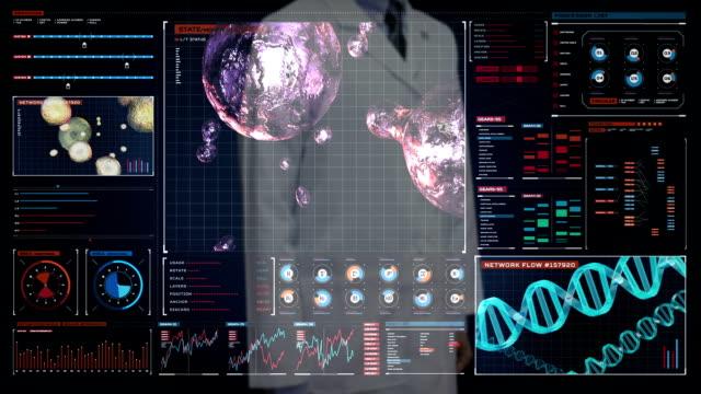 Doctor touching digital screen, Blood cells.Human cardiovascular system, Futuristic medical application. Digital user interface. video