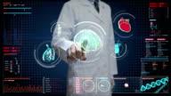 Doctor touching digital screen, Scanning brain, heart, lungs, internal organs in digital display dashboard. X-ray view. video