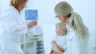 Doctor vaccinating a child sitting in mothers lap video