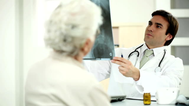 Doctor viewing X-ray with patient video