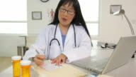 Doctor writing and giving a prescription video