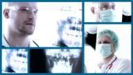 Doctors examining X-Ray image. Split screen. video