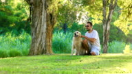 Dog and his owner in the park together video