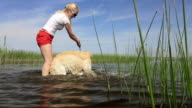 Dog and owner are having fun on the river. video