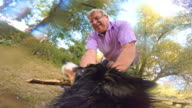 POV Dog playing with senior owner video