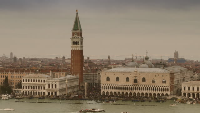 4K Doge's palace and St. Marc's Campanile on Canale grande, Italy video