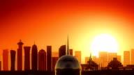 Doha Qatar Take Off Skyline Golden Background video