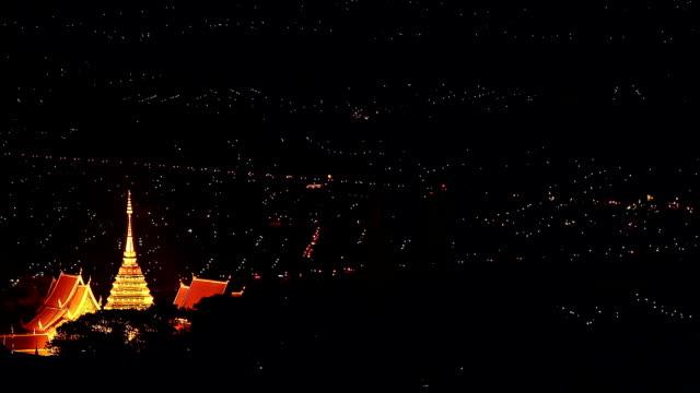 Doi Suthep temple at dusk, Dolly shot video