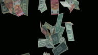 SLO MO Dollar and euro bills falling on black background video
