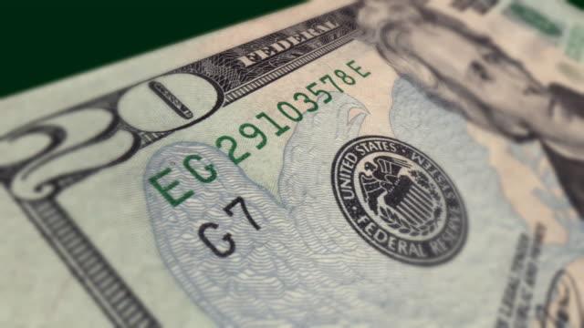 Dollar Bill $20 Macro Close-up Pan video