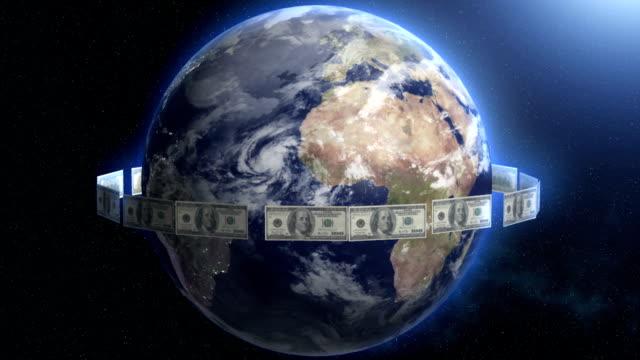 Dollar Bills around Earth. Planet cash flow, flying bucks. video