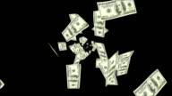 Dollar bills falling over black background video